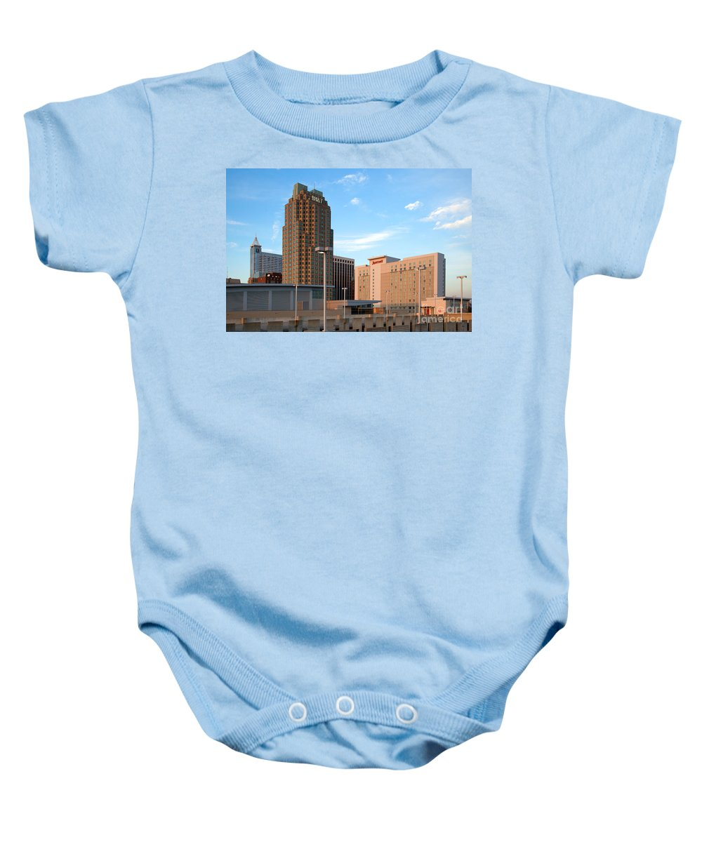 Raleigh Baby Onesie featuring the photograph Raleigh Skyline by Bill Cobb