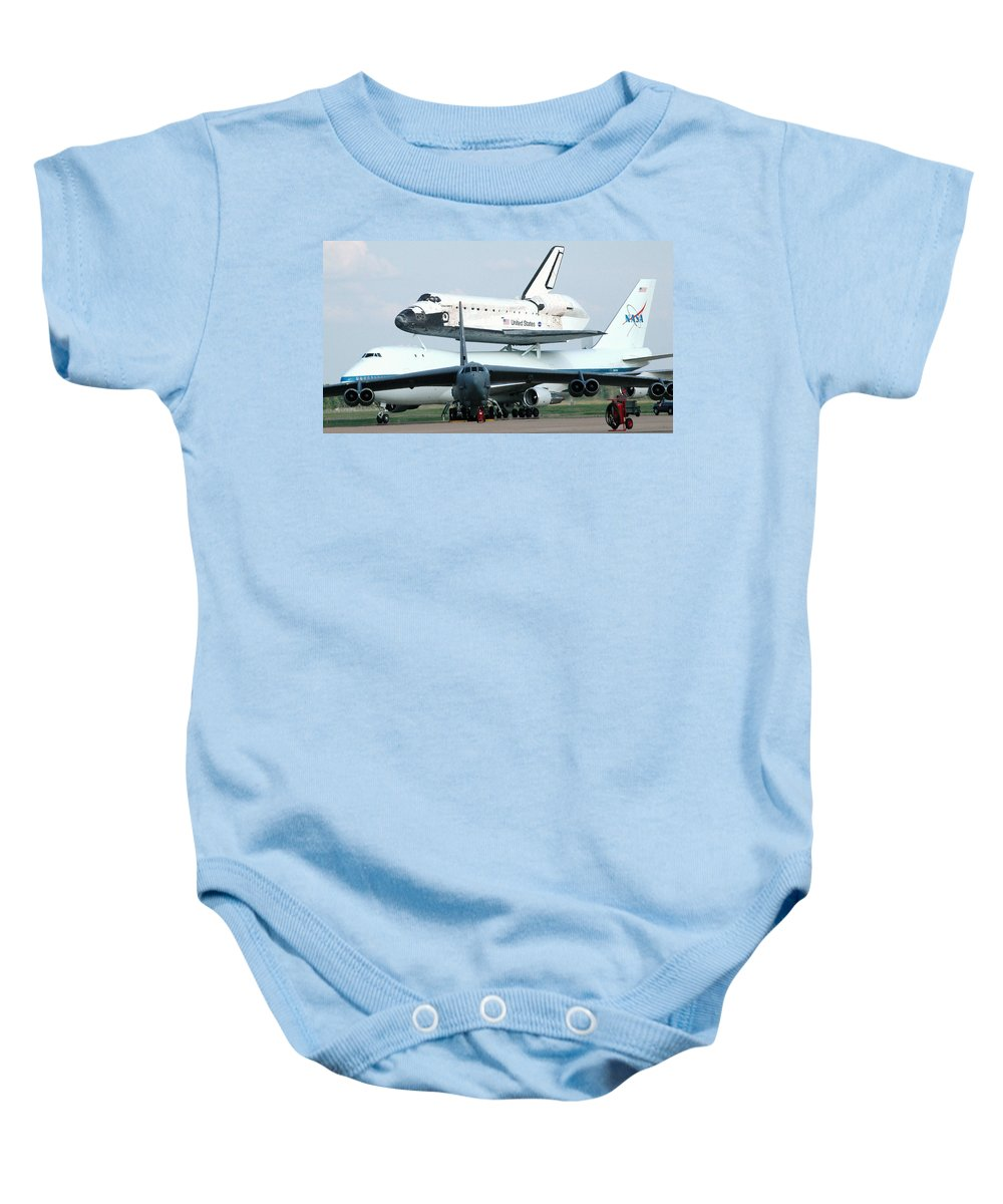 Astronomy Baby Onesie featuring the photograph 747 Transporting Discovery Space Shuttle by Science Source