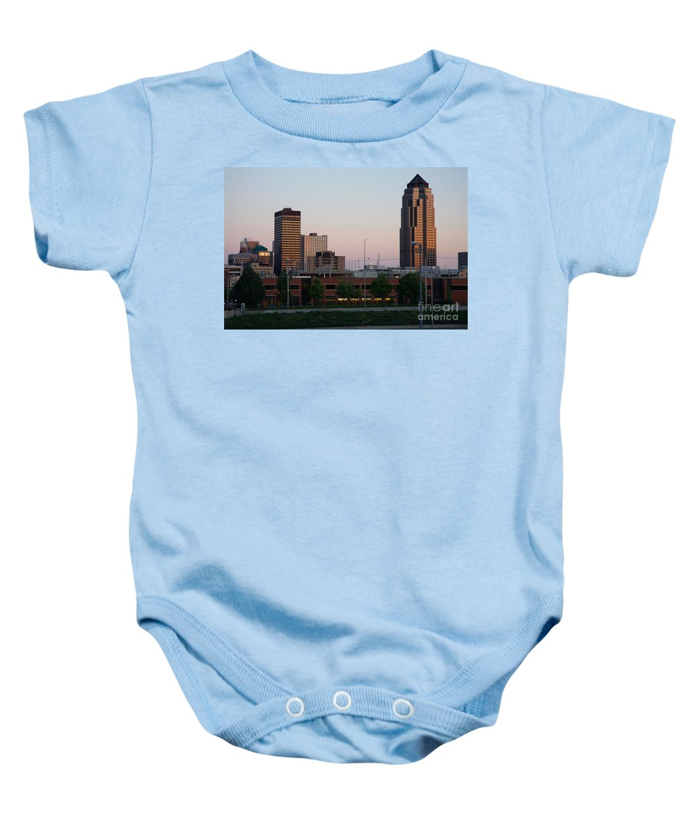801 Grand Baby Onesie featuring the photograph Des Moines Iowa by Bill Cobb