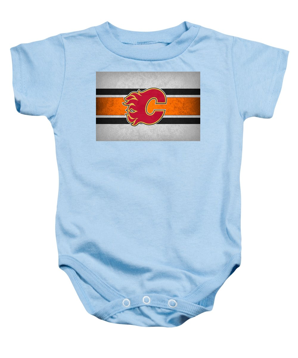 Flames.calgary Baby Onesie featuring the photograph Calgary Flames by Joe Hamilton
