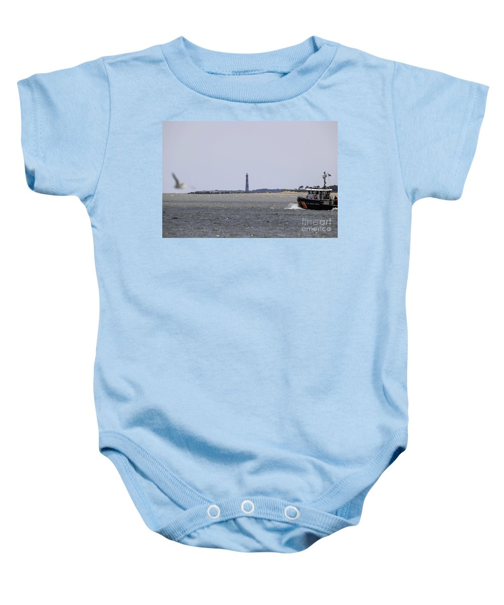 Morris Island Lighthouse Baby Onesie featuring the photograph Coast Guard by Dale Powell