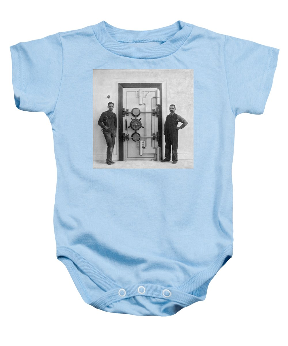 1909 Baby Onesie featuring the photograph A Bank Vault Door by Underwood Archives