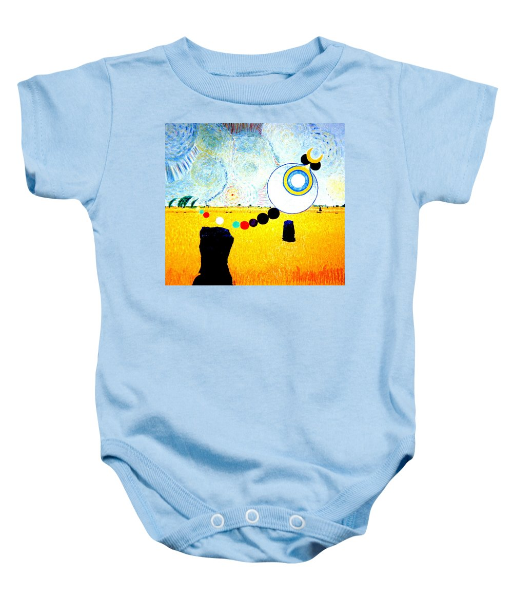 Landscape Baby Onesie featuring the painting A Blustry Day In Wheatshire by MERLIN Vernon