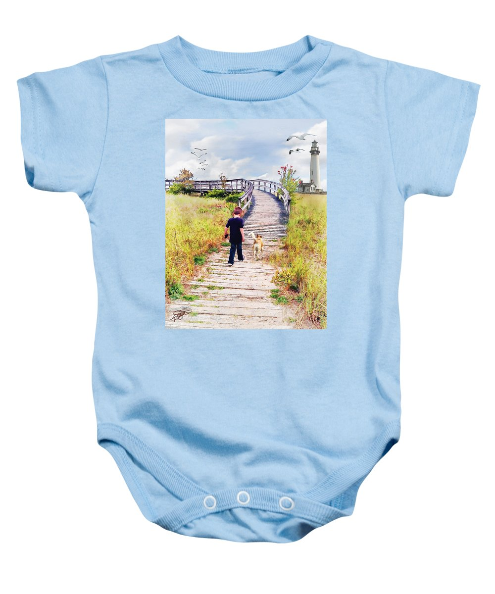 Lighthouses Baby Onesie featuring the painting A Boy And His Dog by Tom Schmidt