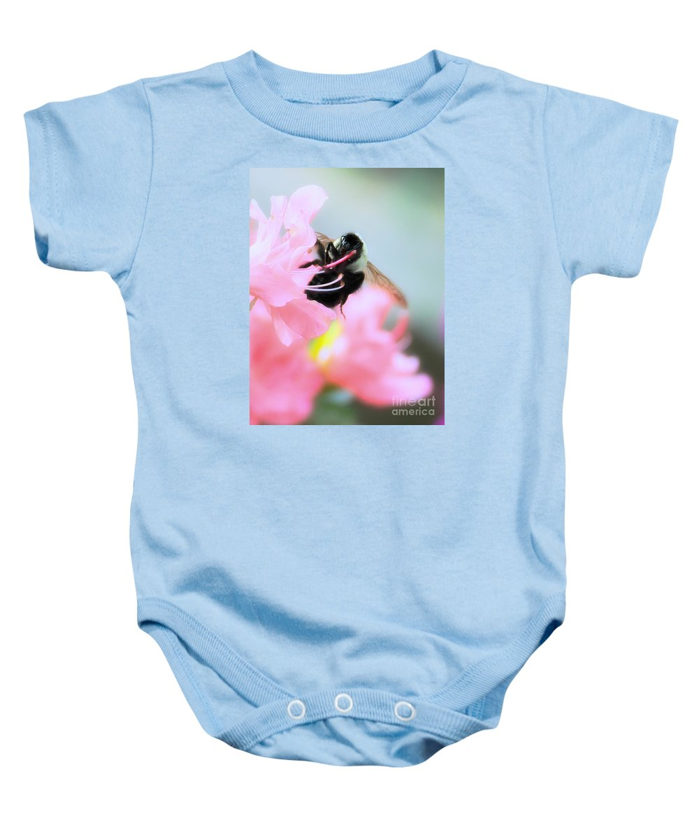 Floral Baby Onesie featuring the photograph Bumble Bee And Azalea by David Perry Lawrence