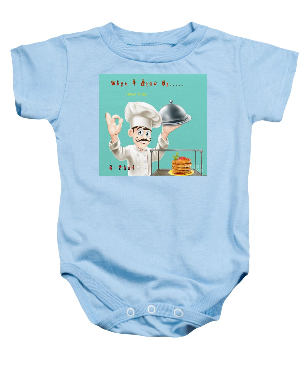 A Chef 1 Baby Onesie featuring the digital art A Chef 1 by L Wright