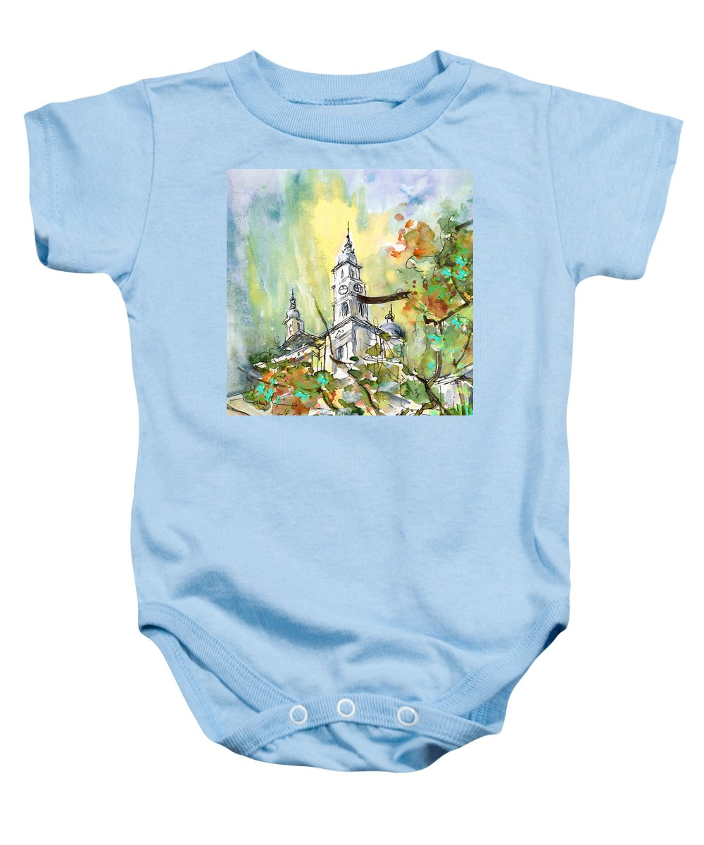 Travel Baby Onesie featuring the painting A Church In Budapest 02 by Miki De Goodaboom