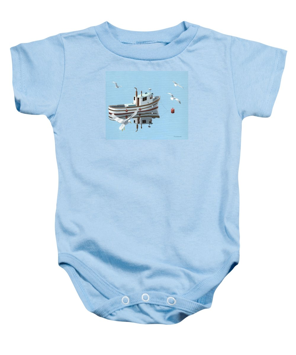 Boat Baby Onesie featuring the painting A Contemplation Of Seagulls by Gary Giacomelli