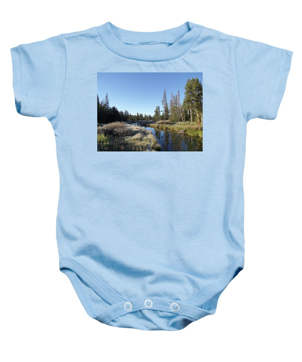 Blue Baby Onesie featuring the photograph A Frosty Morning Along Obsidian Creek by Frank Madia