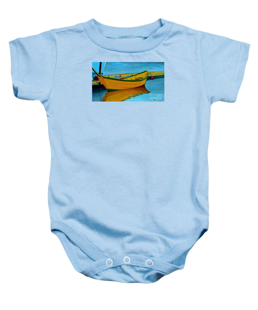 Grand Banks Baby Onesie featuring the painting A Grand Banks Dory by Anthony Dunphy