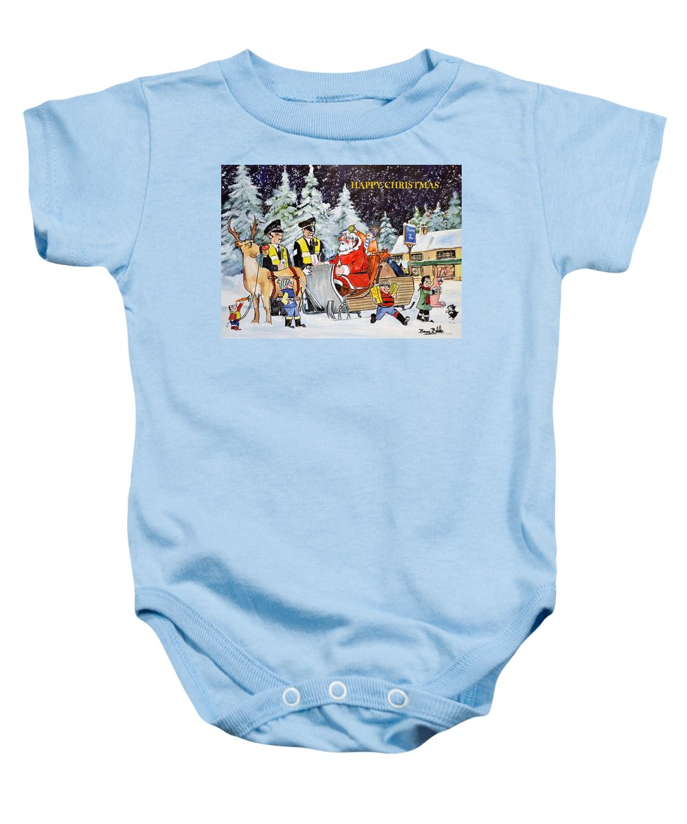 Christmas Card Baby Onesie featuring the painting A Happy Christmas by Barry BLAKE