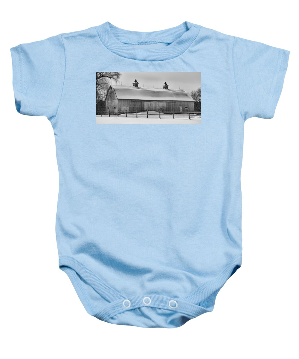 Barn Baby Onesie featuring the photograph A Long Barn 7k00040b by Guy Whiteley