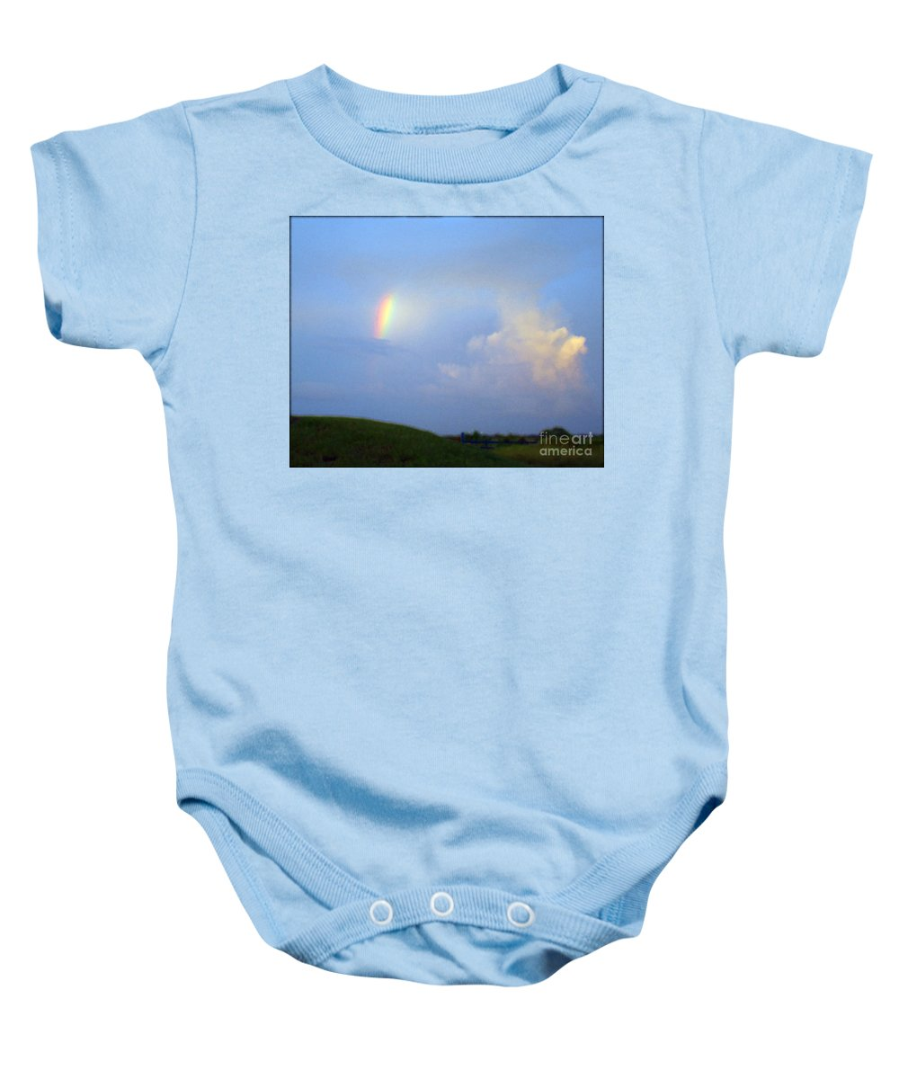 Rainbow Baby Onesie featuring the photograph A Piece Of The Rainbow by Nancy L Marshall