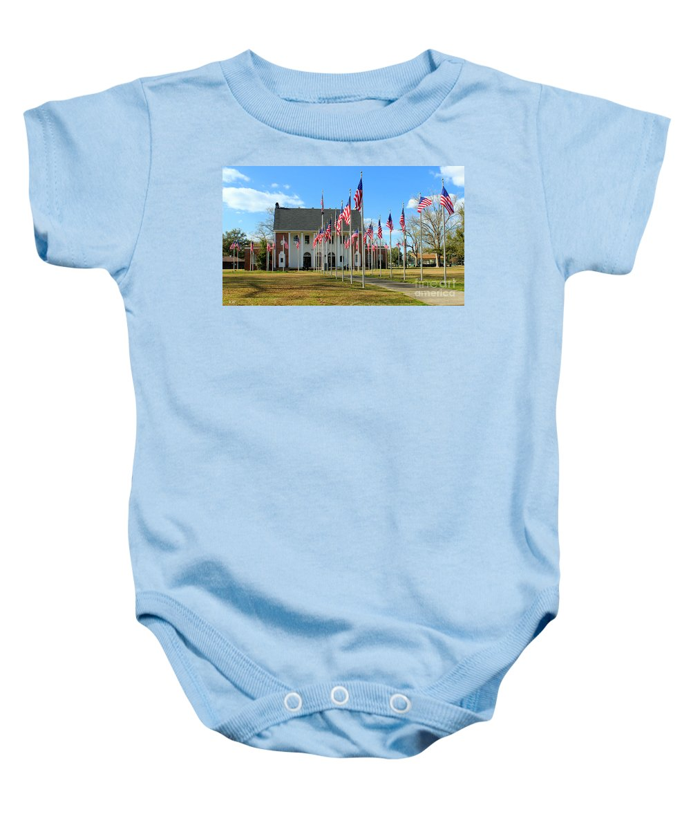 A Soldier Died Today Poem Baby Onesie featuring the photograph A Soldier Died Today by Kathy White