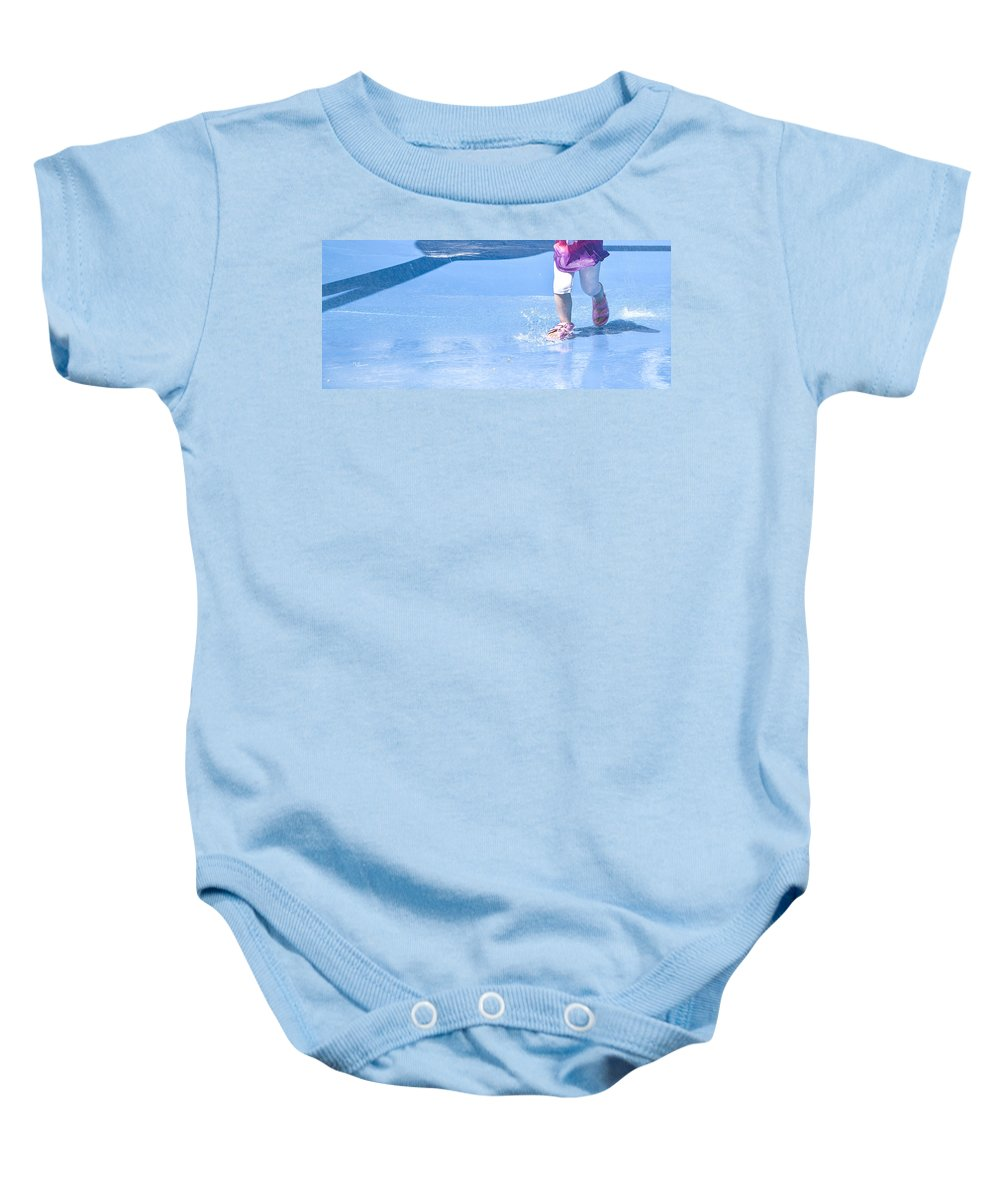 Child Prints Baby Onesie featuring the photograph A Splishin' And A Splashin' by Theresa Tahara