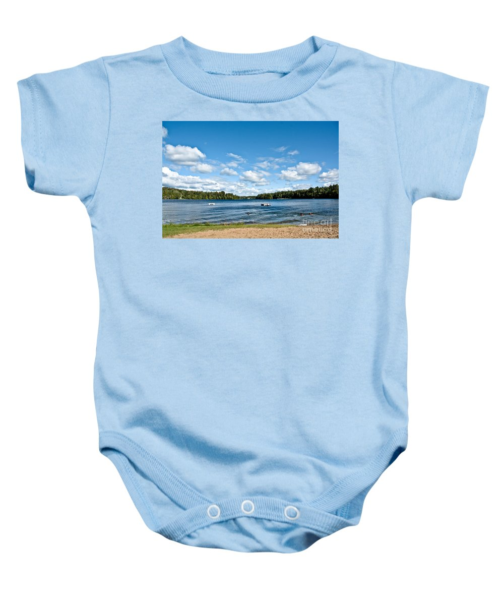 Beach Baby Onesie featuring the photograph A Swim In The Lake by Cheryl Baxter