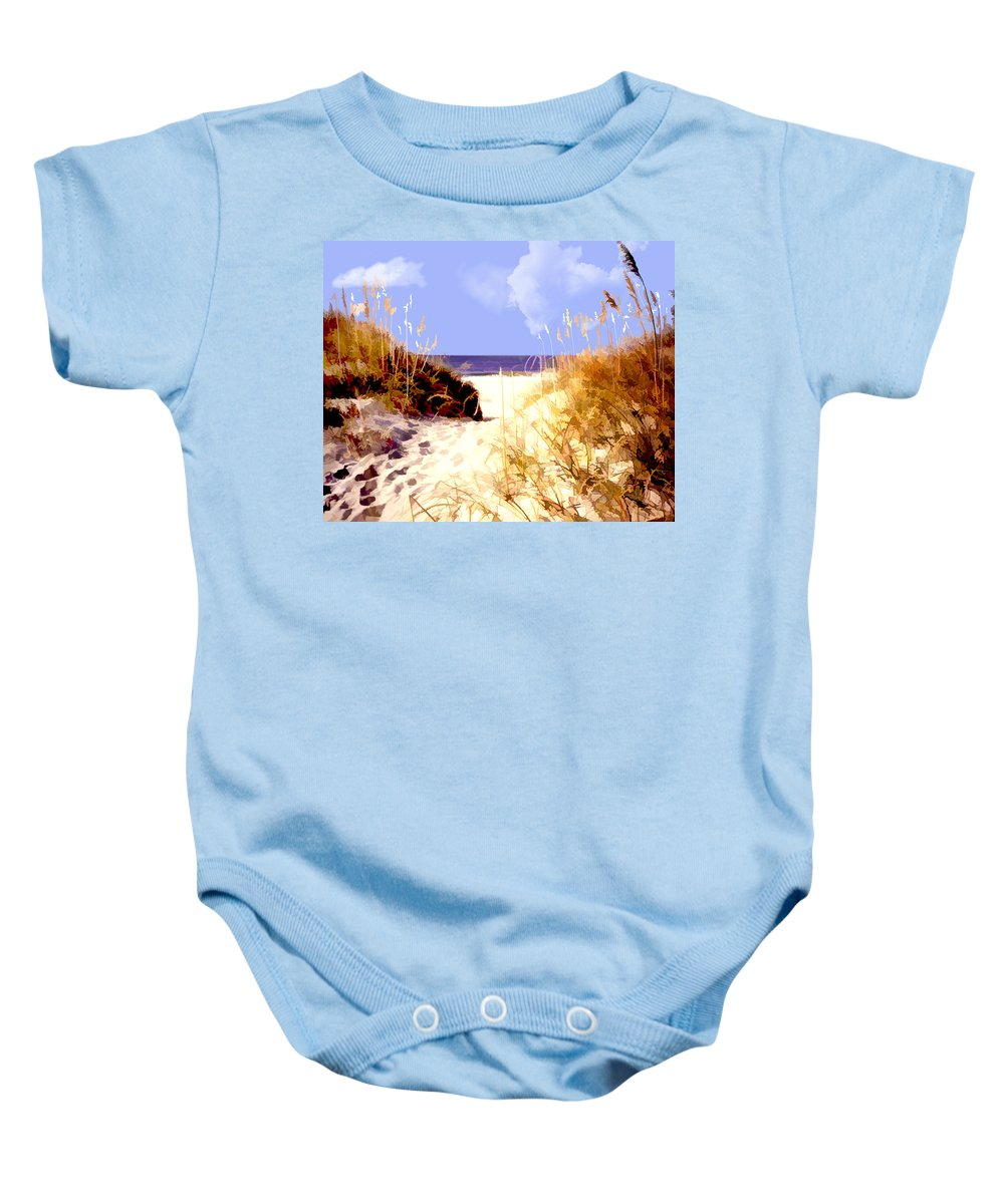 Ocean Baby Onesie featuring the painting A View Through The Dunes To The Ocean by Elaine Plesser