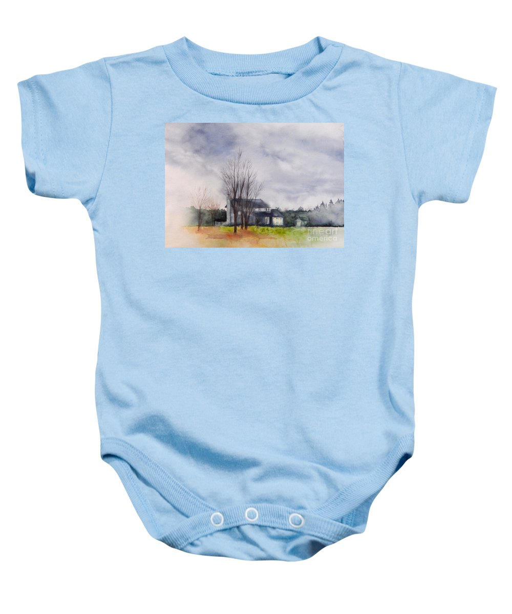 Winter Baby Onesie featuring the painting A Voice Of Winter by Yoshiko Mishina