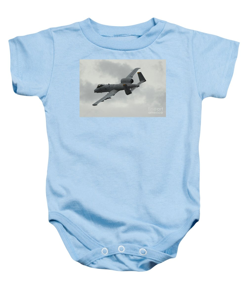 A10 Baby Onesie featuring the photograph A10 Warthog by J Biggadike