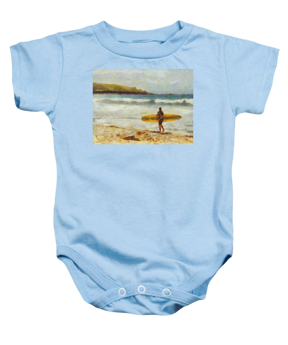 Fine Art Baby Onesie featuring the painting About To Surf by Pixel Chimp
