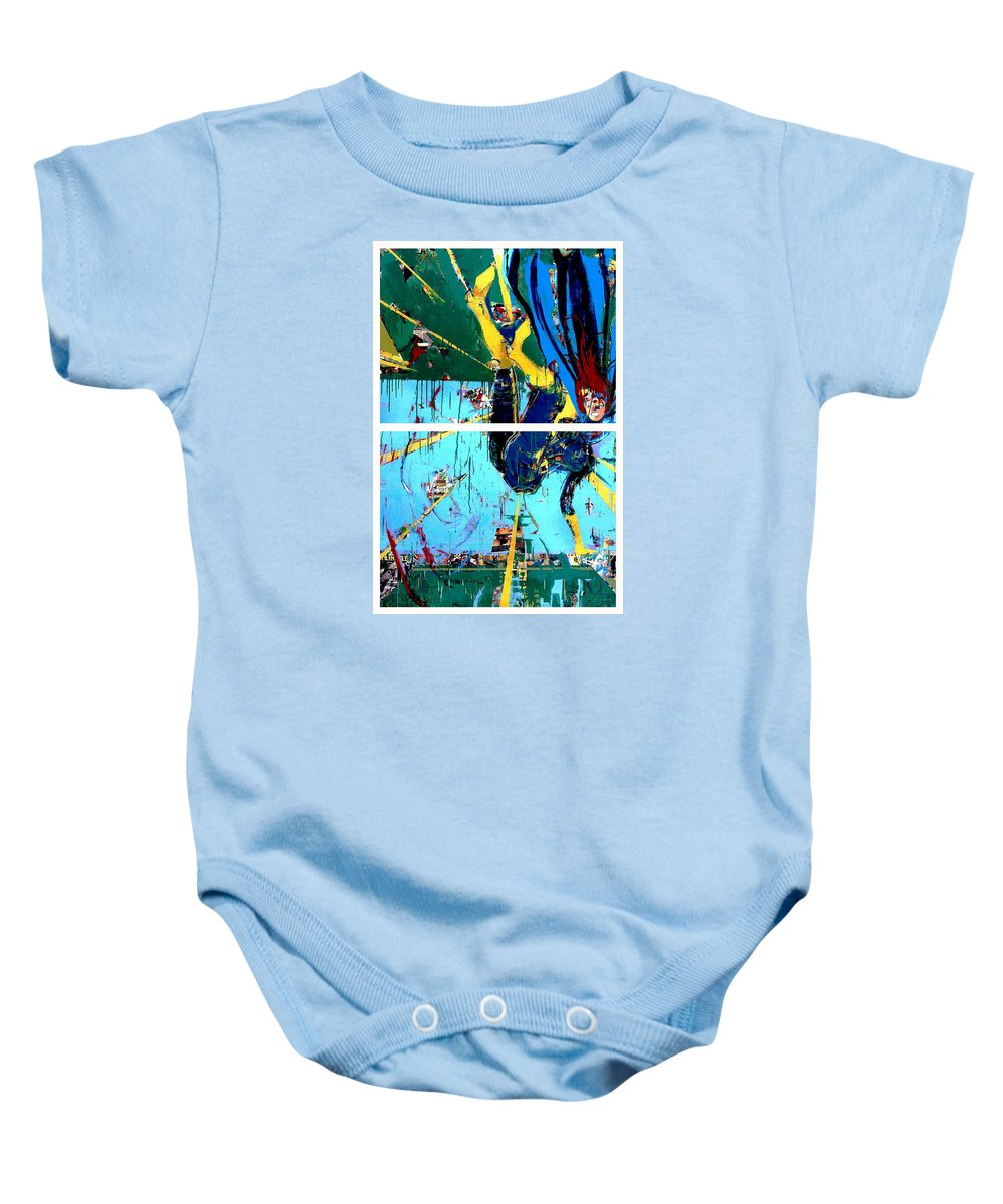 Abstract Art Paintings Baby Onesie featuring the painting Action Abstraction No. 21 by David Leblanc