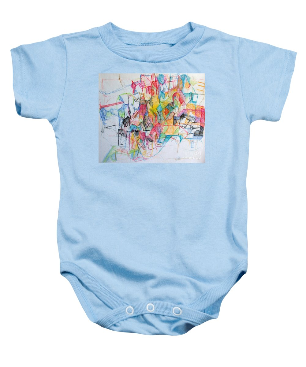 Torah Baby Onesie featuring the drawing Tzadik 14 by David Baruch Wolk