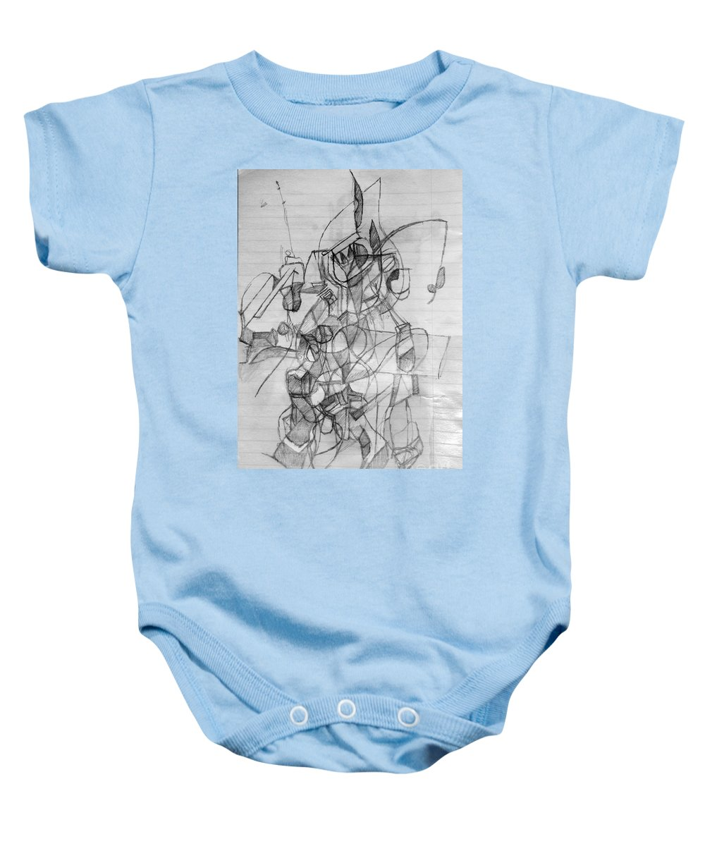 Torah Baby Onesie featuring the drawing Self-renewal 9 by David Baruch Wolk
