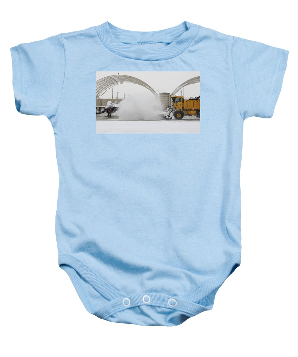 Military Baby Onesie featuring the photograph Airmen Clear Taxiway, Kunsan Air Base by Science Source