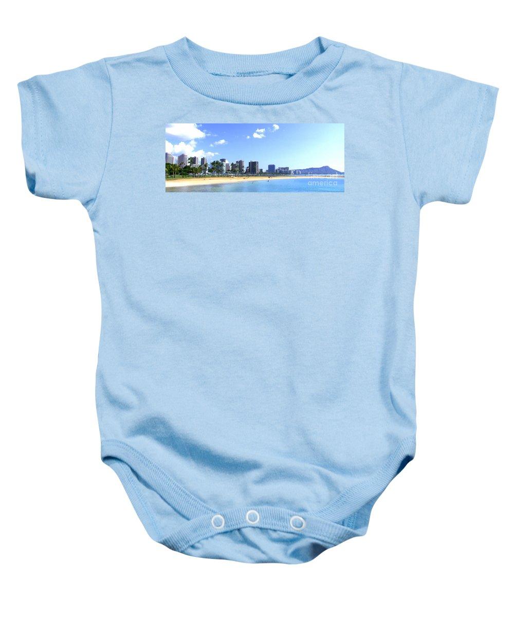 Landscape Baby Onesie featuring the photograph Ala Moana Beach Park And Diamond Head by Mary Deal