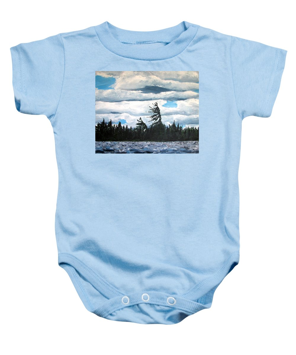Lake Baby Onesie featuring the painting Algonquin Kawawaymog Wendy's Tree by Anne F Marshall