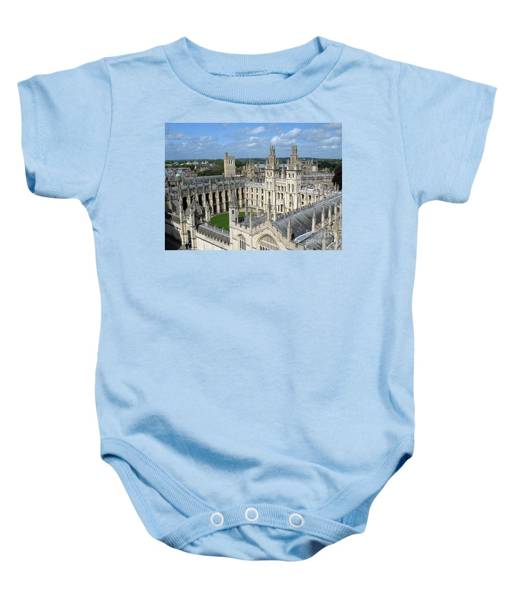 Oxford Baby Onesie featuring the photograph All Souls College by Ann Horn