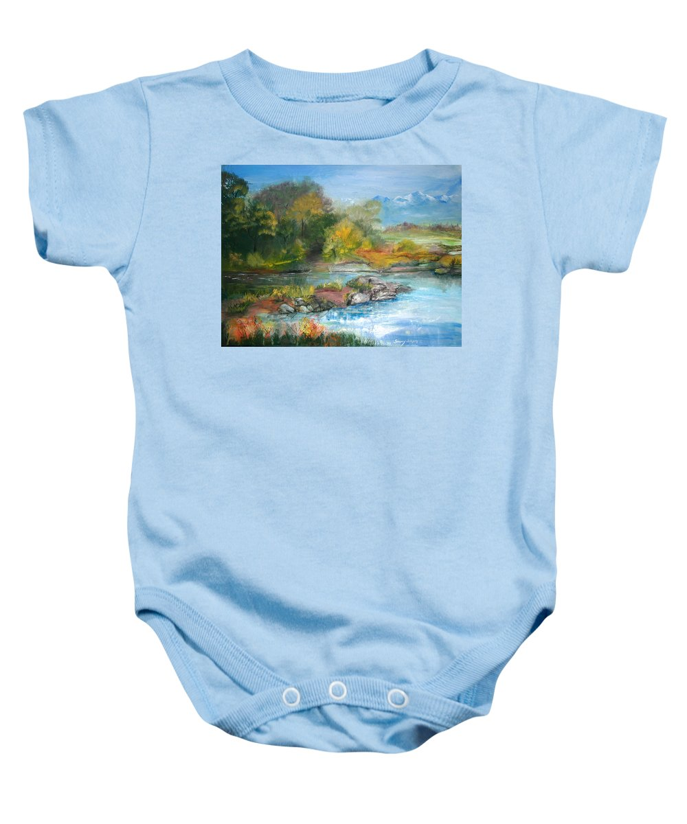 River Baby Onesie featuring the painting Along The Riverbank by Sherry Shipley