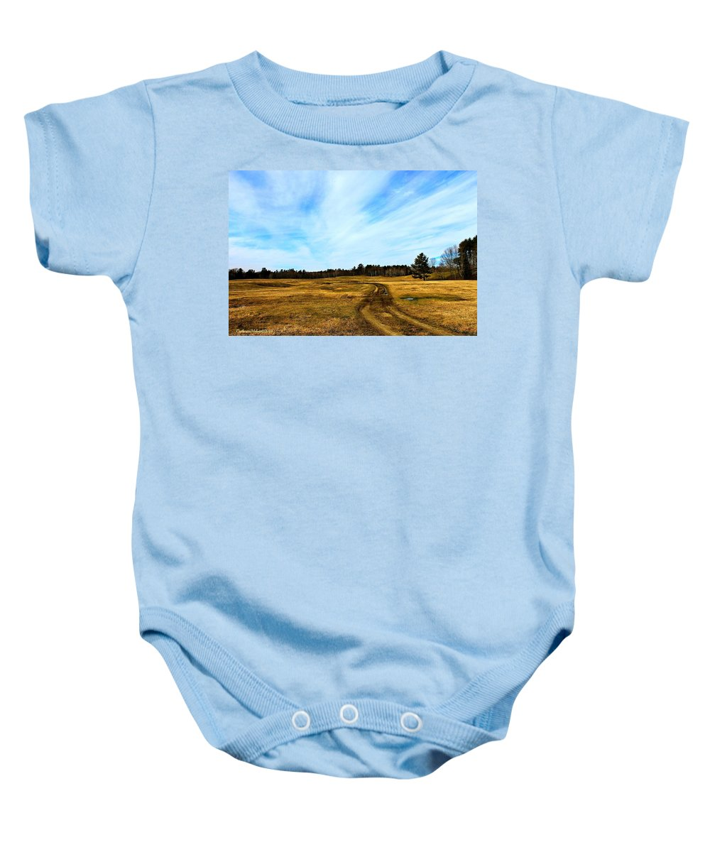 Field Baby Onesie featuring the photograph America The Beautiful by Catherine Melvin