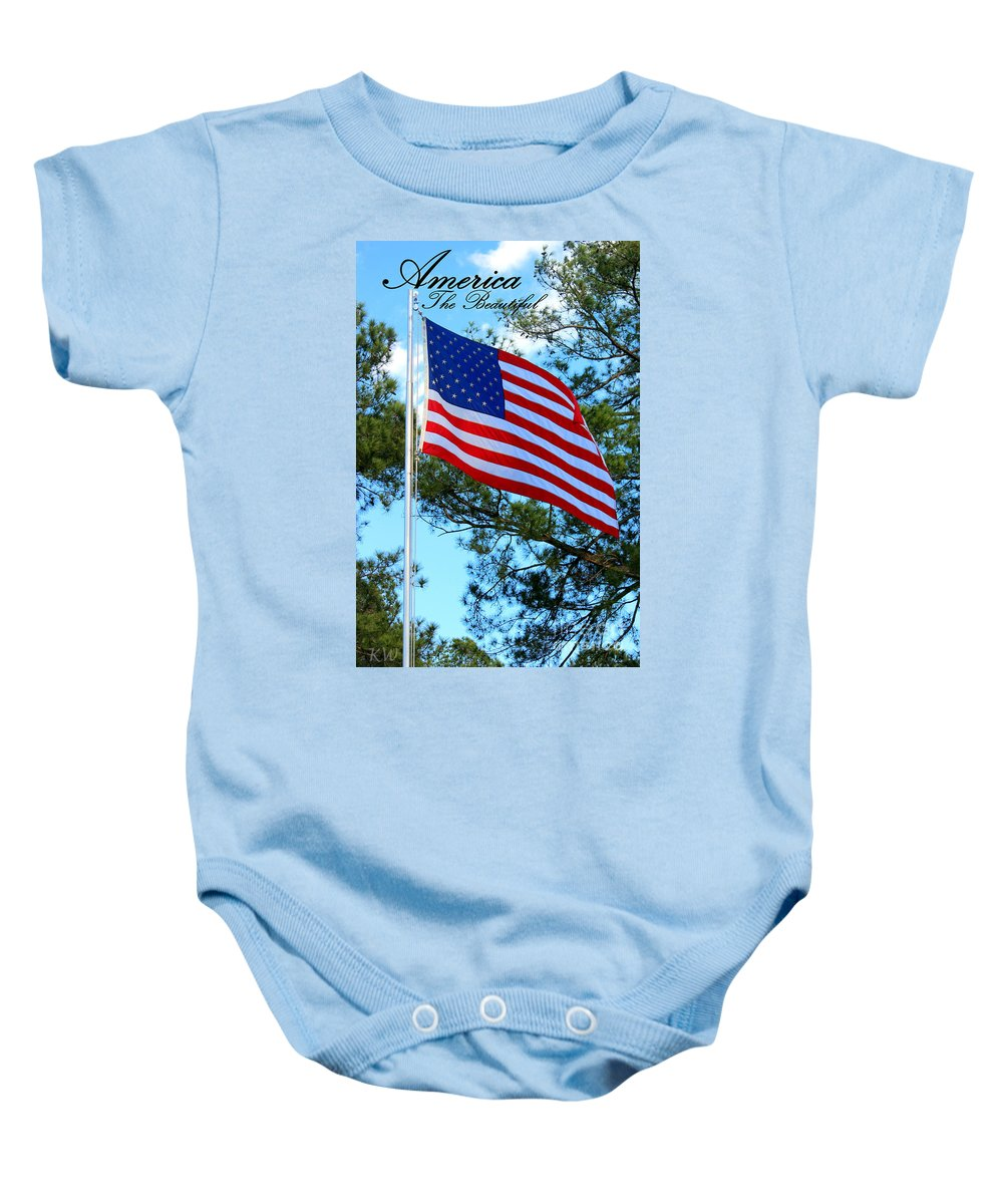 Patiotic Songs Baby Onesie featuring the photograph America The Beautiful by Kathy White
