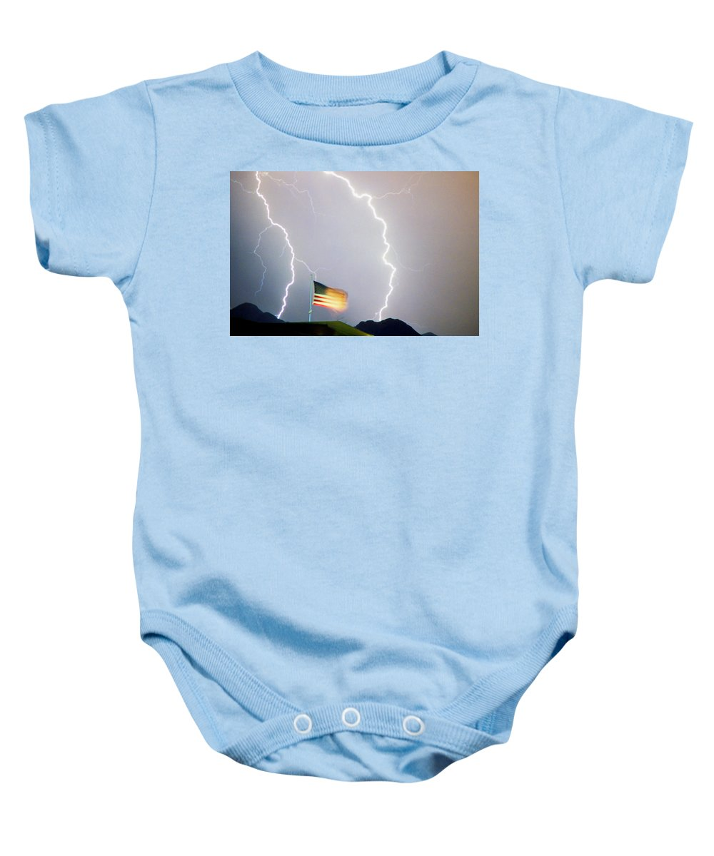 Lightning; Lightening; American Flag; Usa; Americana; Storm; Weather; Nature Baby Onesie featuring the photograph American Flag Lightning Strikes by James BO Insogna
