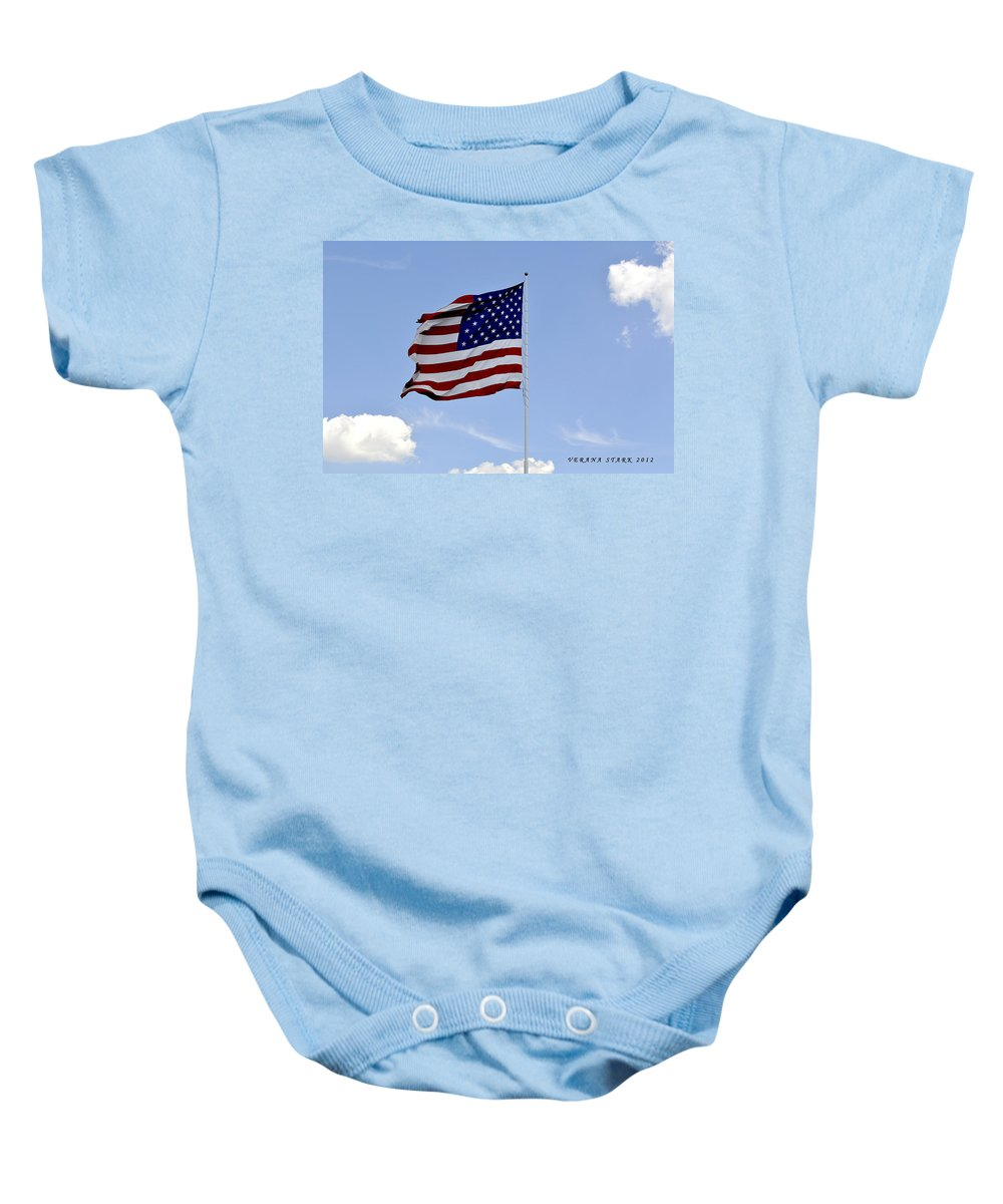 American Flag Baby Onesie featuring the photograph American Flag by Verana Stark