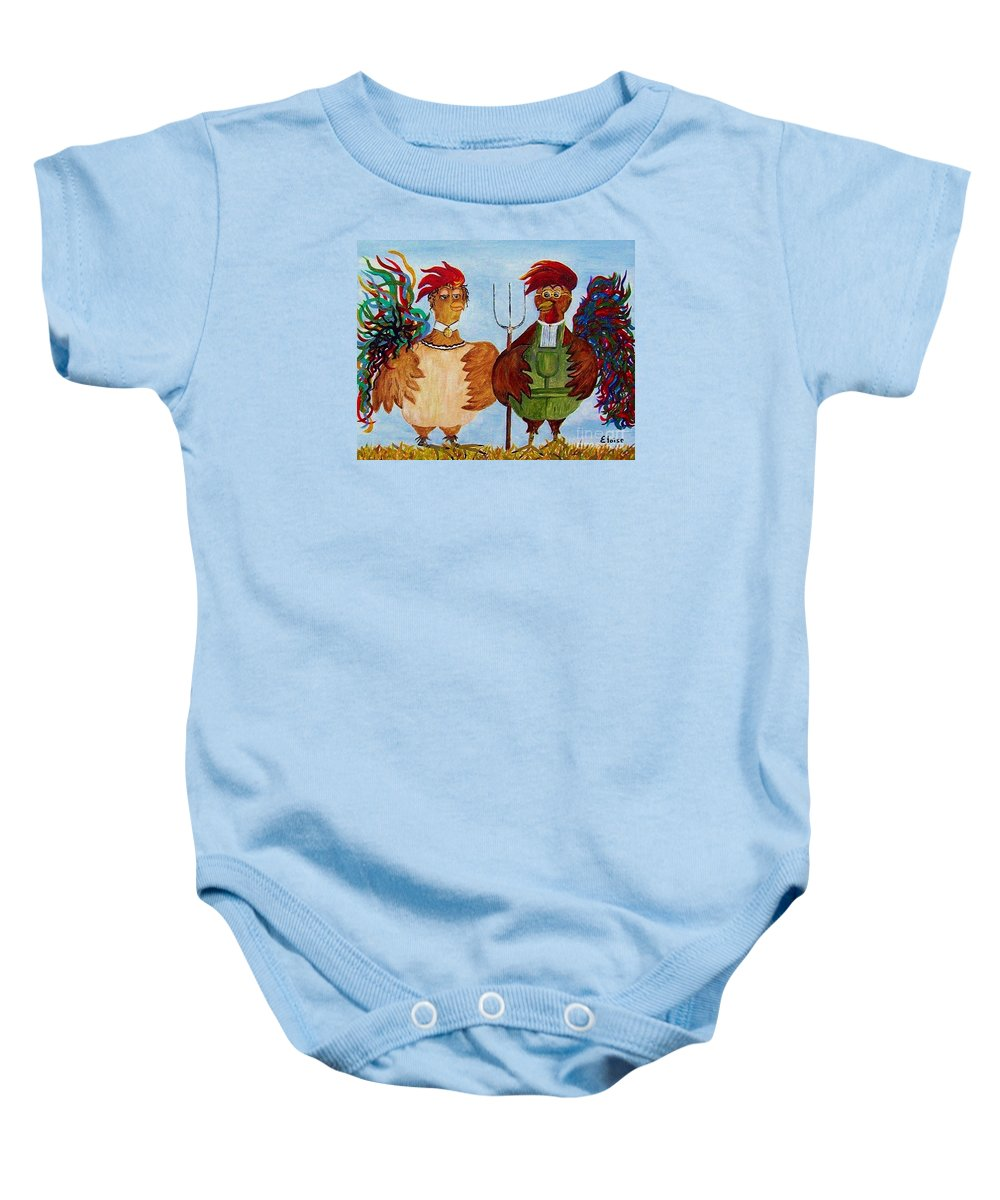 Rooster Baby Onesie featuring the painting American Gothic Down On The Farm - A Parody by Eloise Schneider Mote