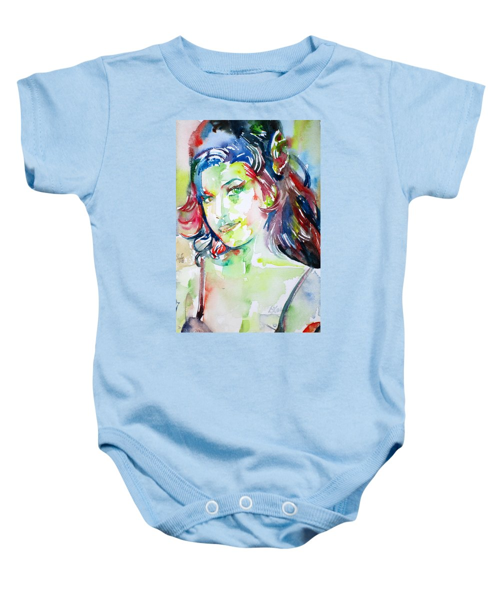 Amy Winehouse Baby Onesie featuring the painting Amy Winehouse Watercolor Portrait.1 by Fabrizio Cassetta