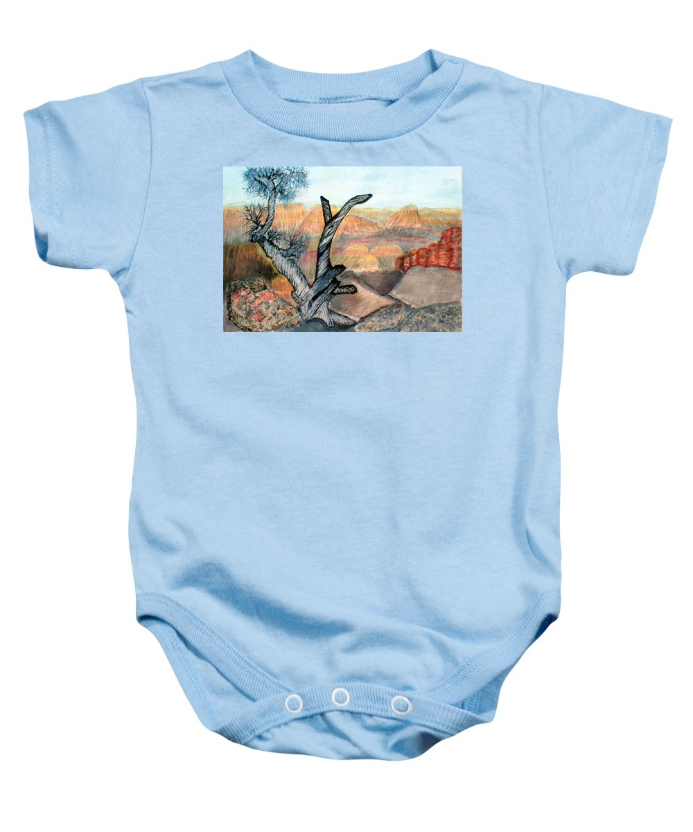 Landscape Baby Onesie featuring the painting Anceint Canyon Watcher by Tim Longwell