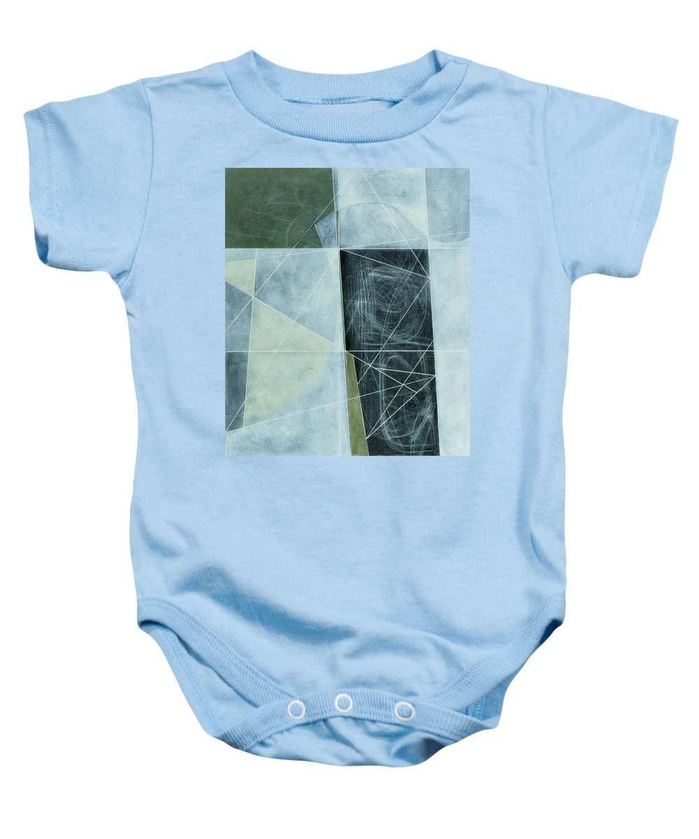 Abstract Baby Onesie featuring the photograph Ancient Landscape, 1982 Oil On Hardboard by George Dannatt