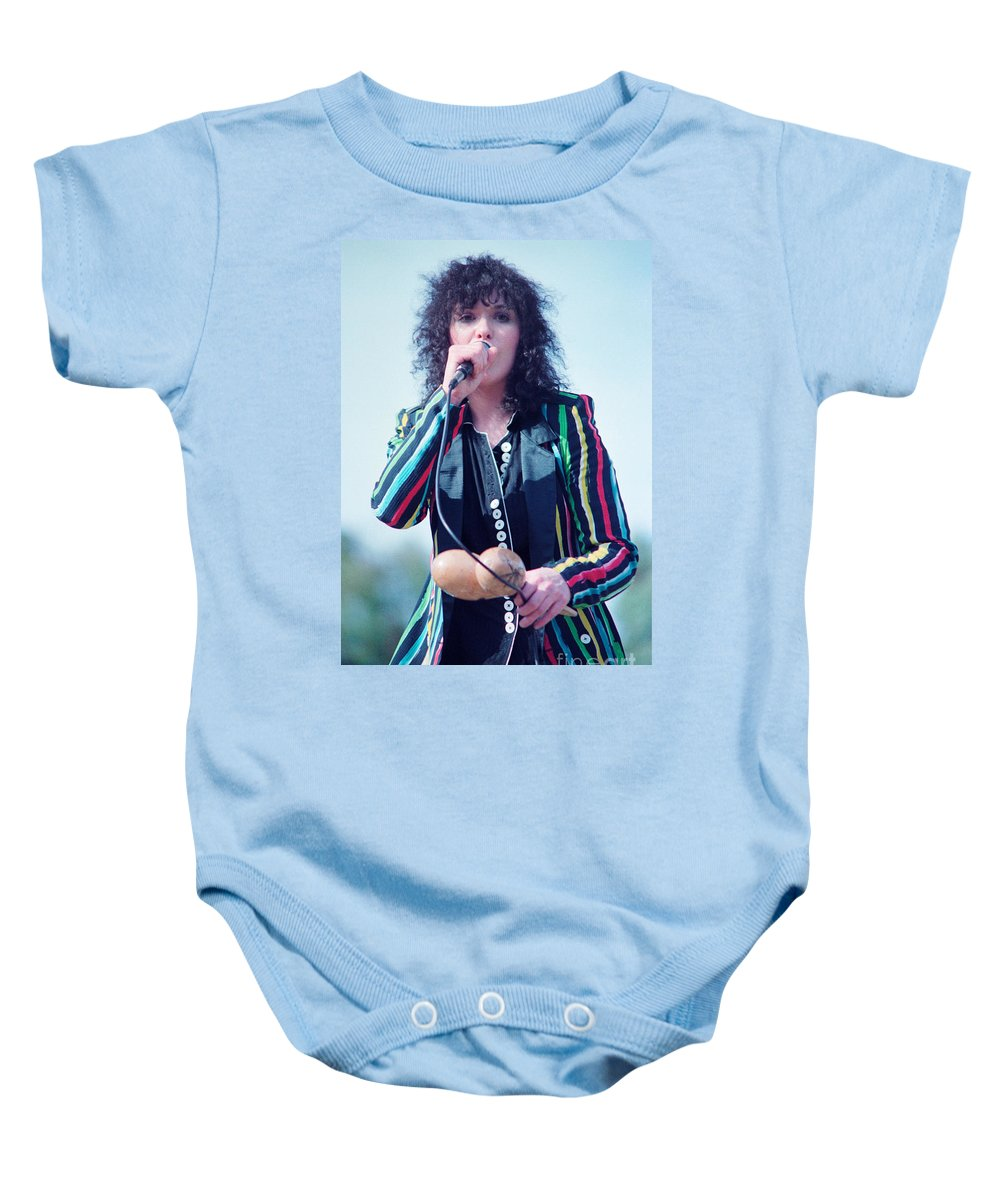 Ann Wilson Baby Onesie featuring the photograph Ann Wilson Of Heart At 1981 Day On The Green In Oakland Ca by Daniel Larsen