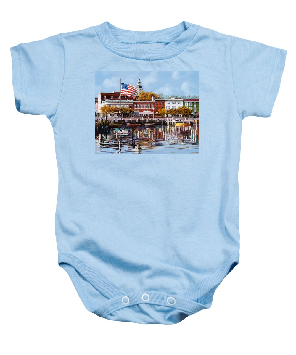 Annapolis Baby Onesie featuring the painting Annapolis by Guido Borelli