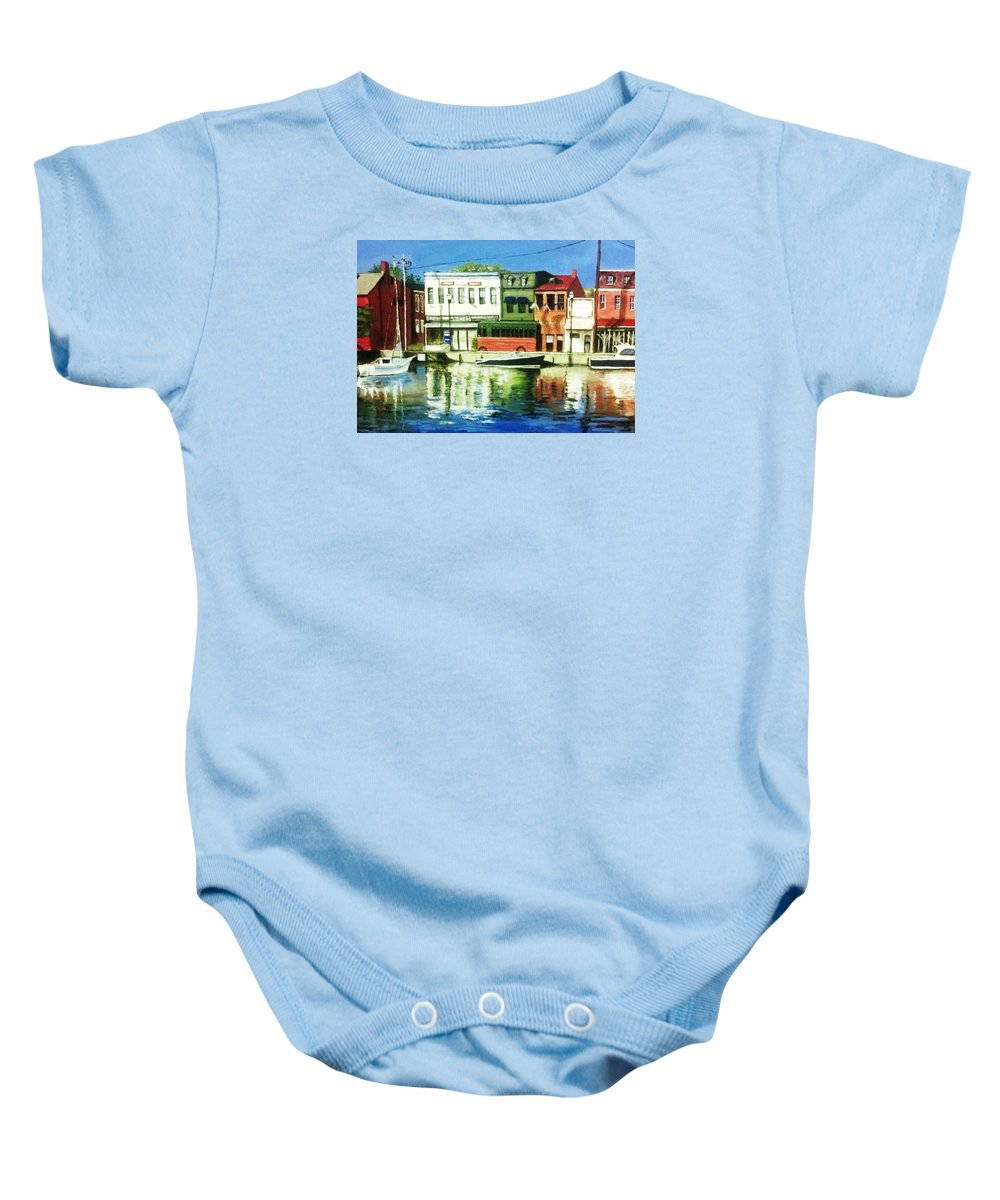 Architecture Baby Onesie featuring the painting Annapolis Md by Lawrence Saunders