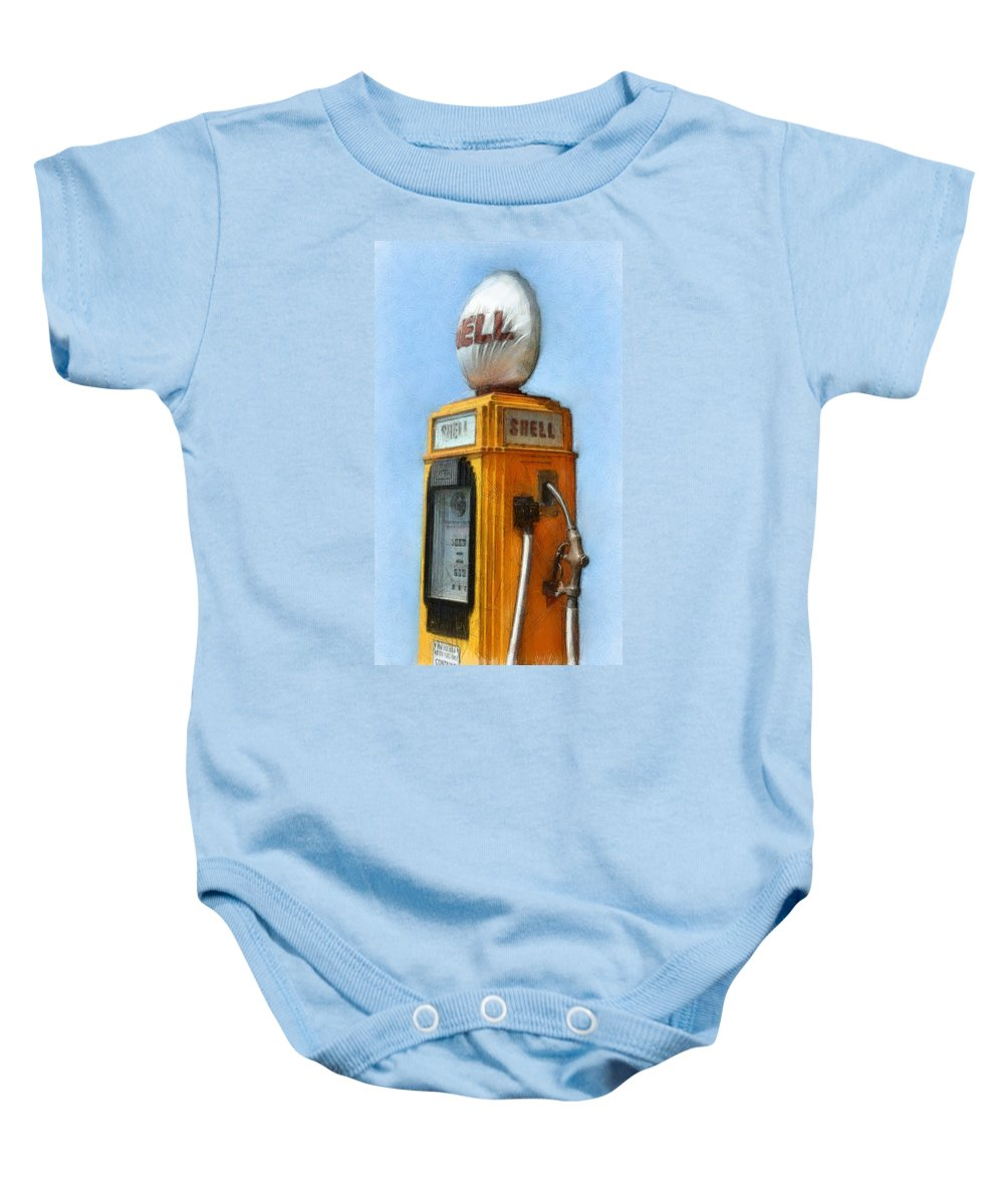 Nostalgia Baby Onesie featuring the photograph Antique Shell Gas Pump by Michelle Calkins