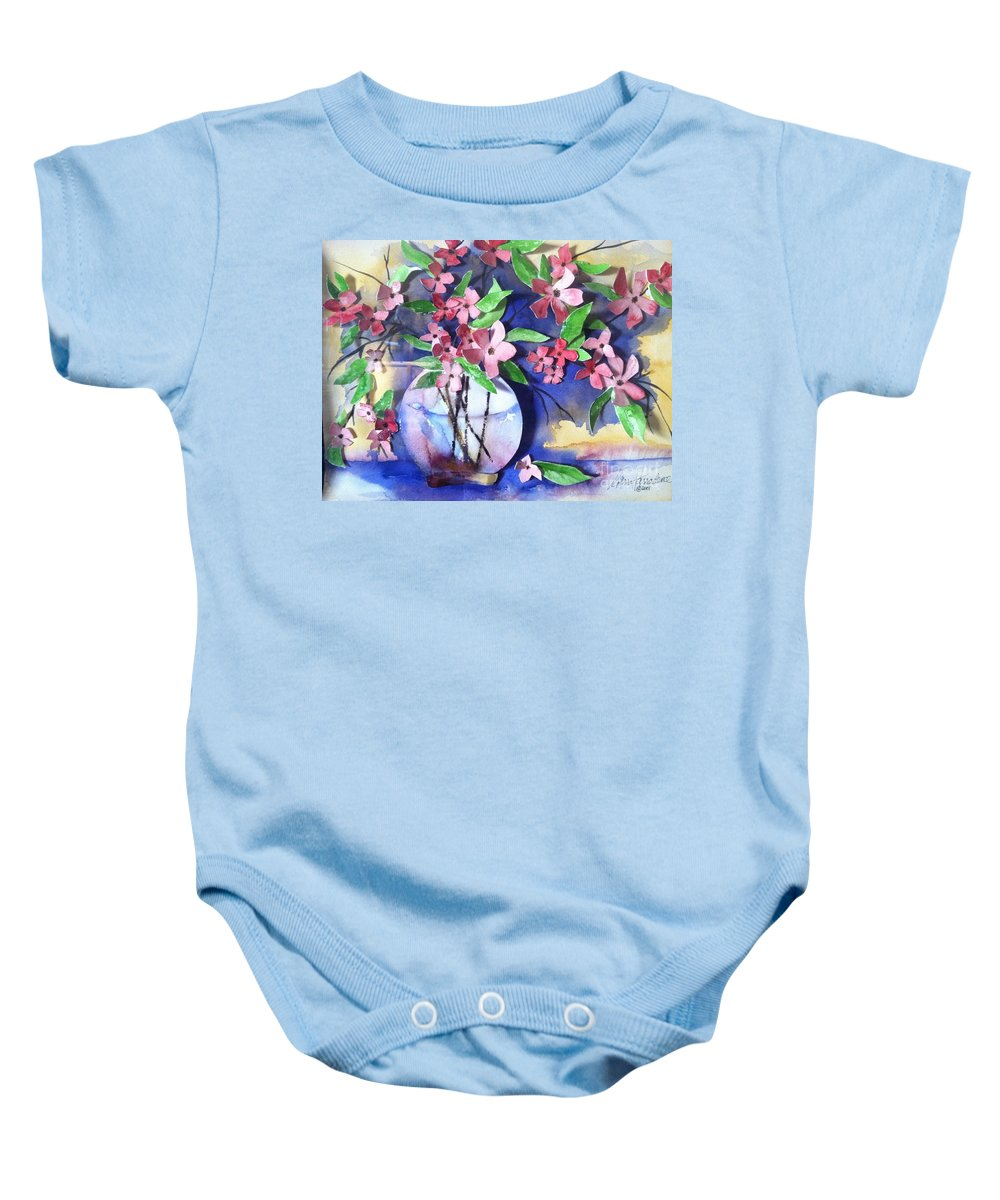Orchards Baby Onesie featuring the painting Apple Blossoms by Sherry Harradence