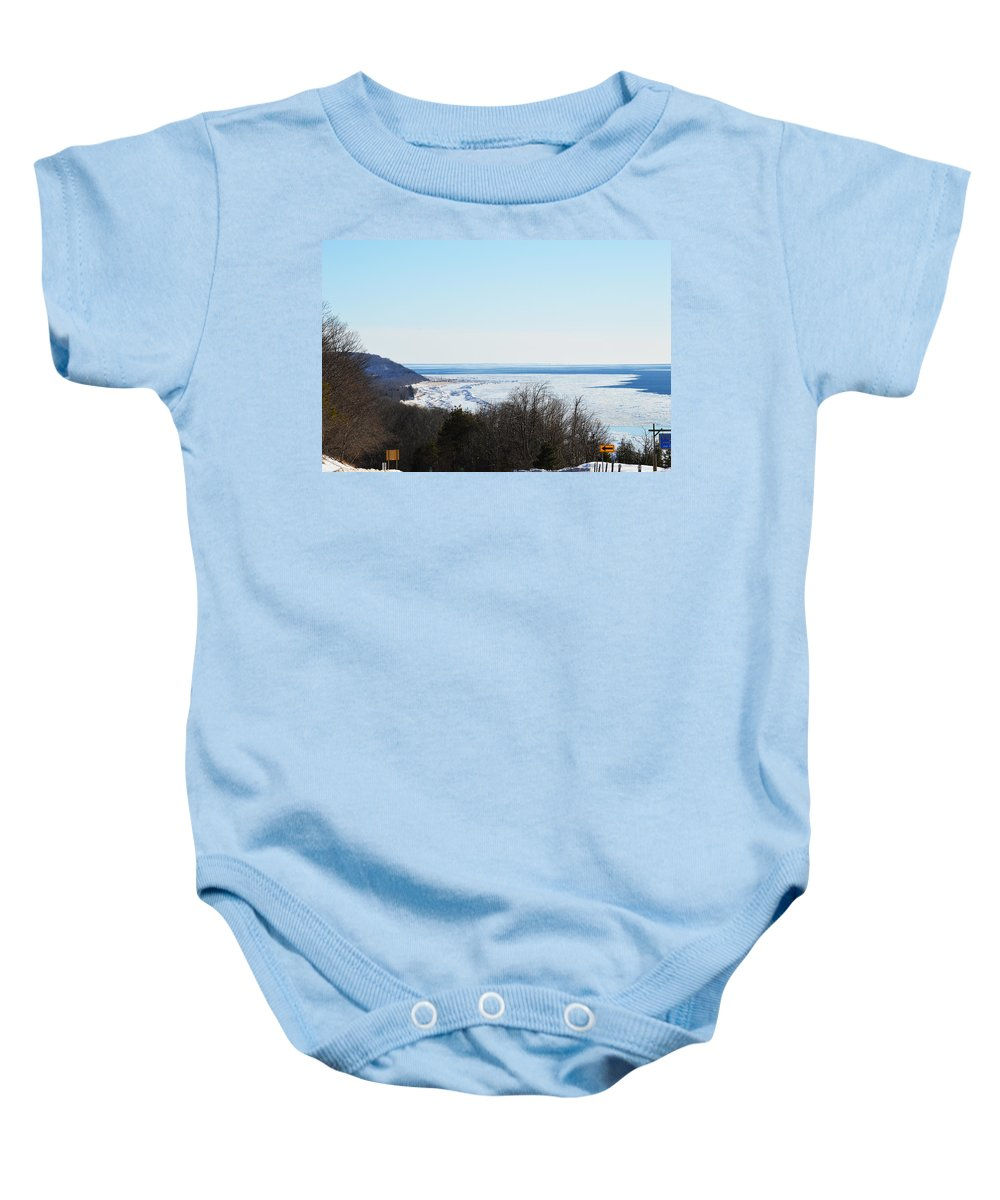 Michigan Baby Onesie featuring the photograph Arcadia Lookout by Linda Kerkau