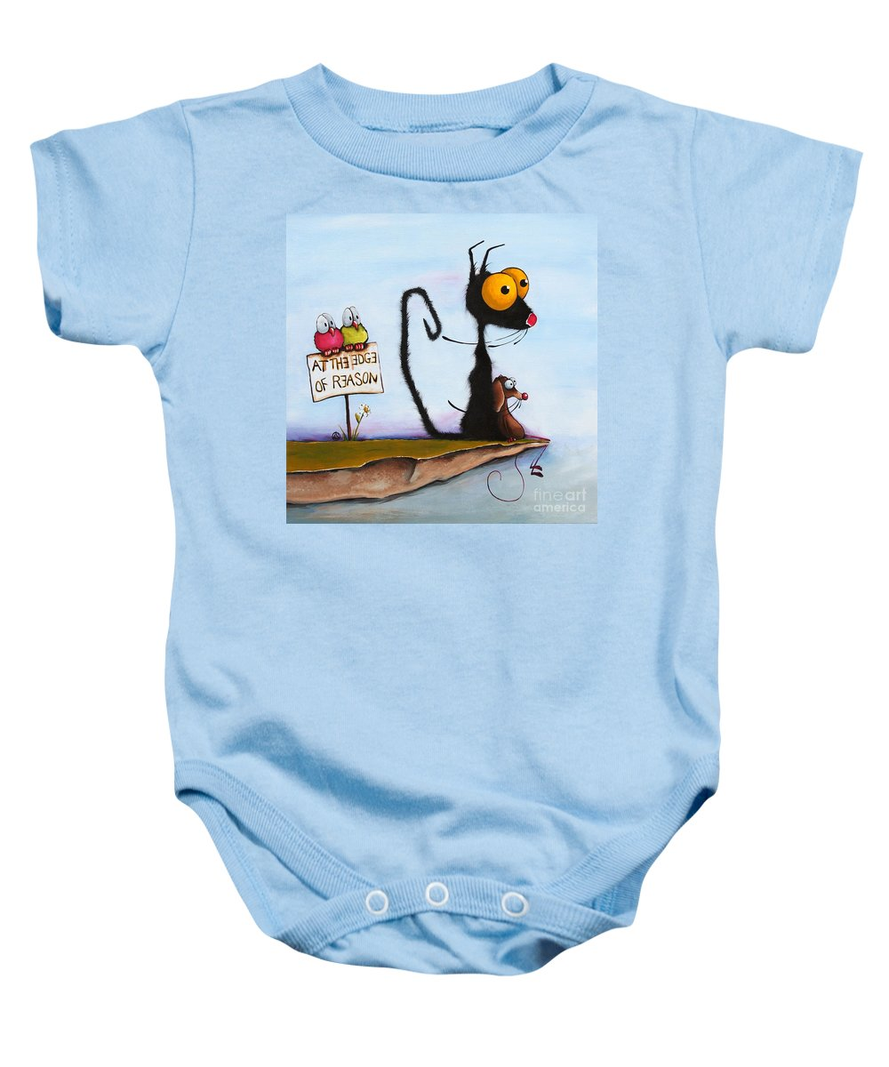 Cat Baby Onesie featuring the painting At The Edge Of Reason by Lucia Stewart