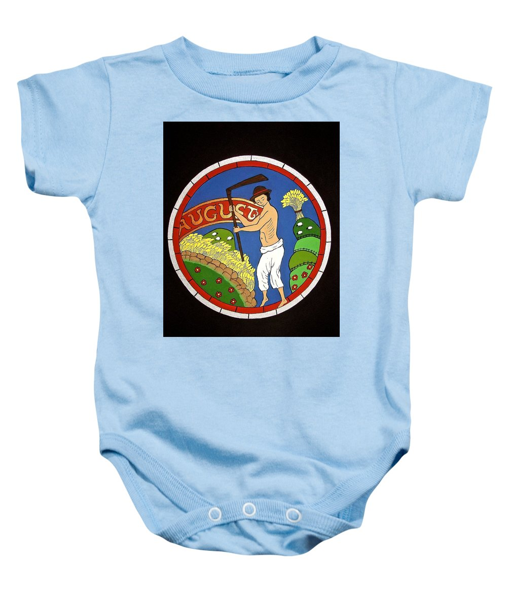 Medieval Baby Onesie featuring the painting August - Threshing Wheat by Stephanie Moore