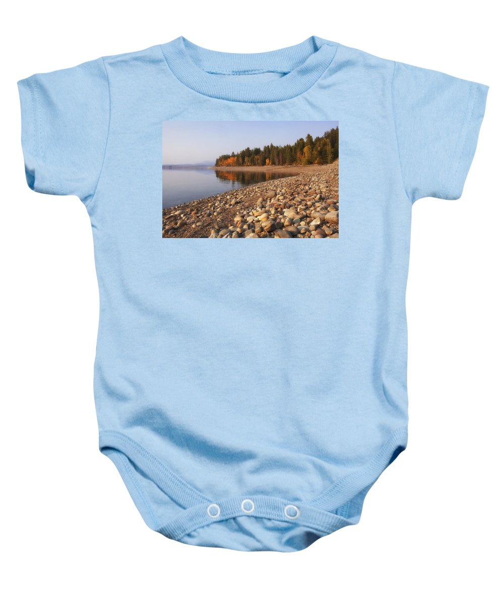 Autumn Baby Onesie featuring the photograph Autumn Lake by Andrew Soundarajan