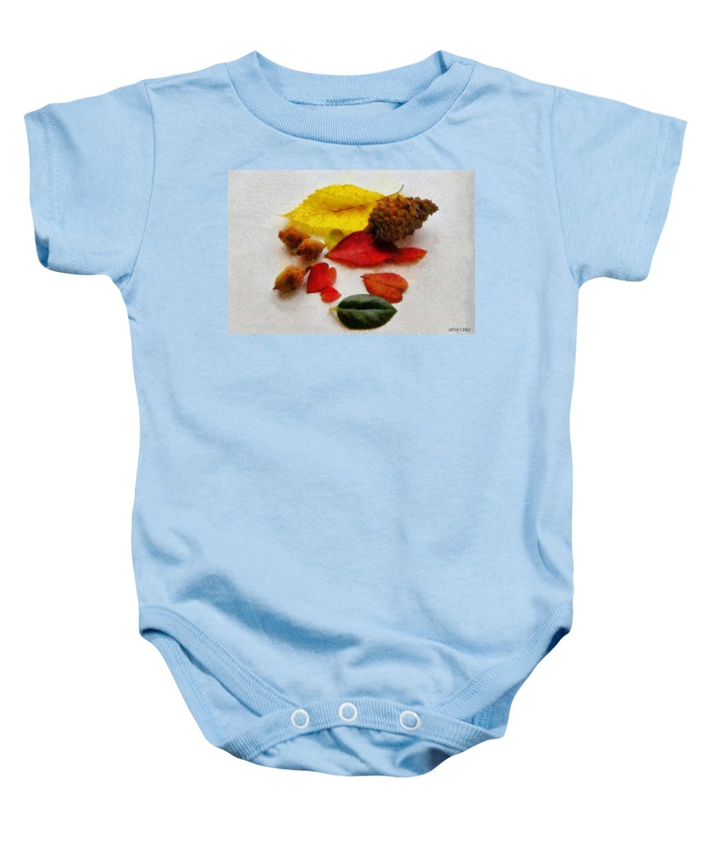 Acorn Baby Onesie featuring the painting Autumn Medley by Jeffrey Kolker